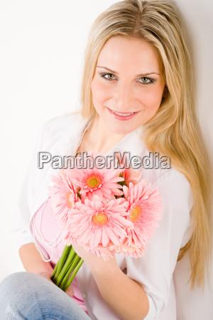 romantic, woman, hold, pink, gerbera, daisy - 4825576