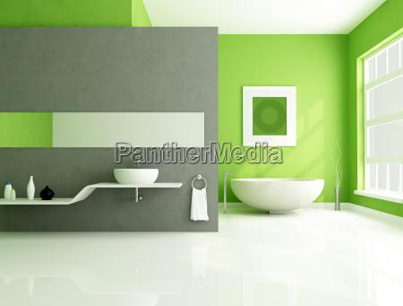 green and gray contemporary bathroom
