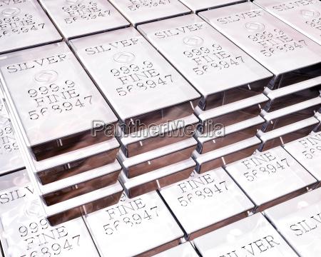stacks of silver bars