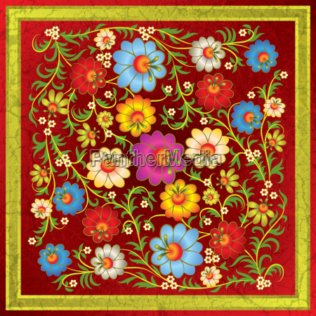 abstract floral ornament with flowers on