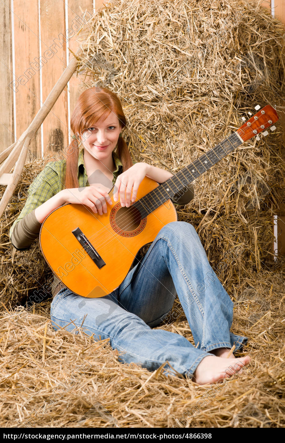 young, country, woman, sitting, on, hay - 4866398