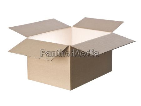 open cardboard box with light in