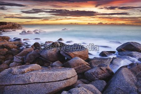 tropical sea at dusk long exposure