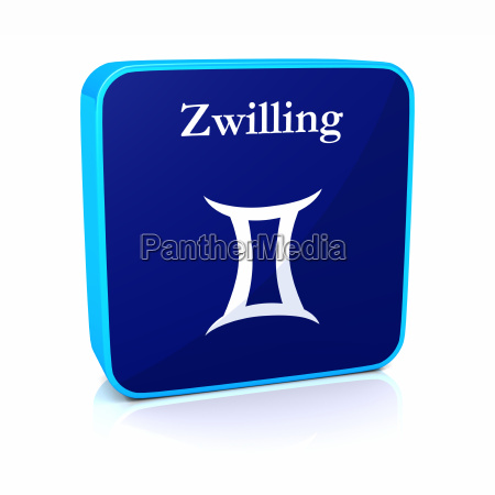 zodiac icon gemini blue white
