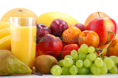 composition with fruits and glass of
