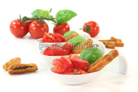 tomato and basil with grissini
