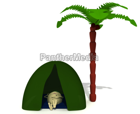 puppet rest under green tent near