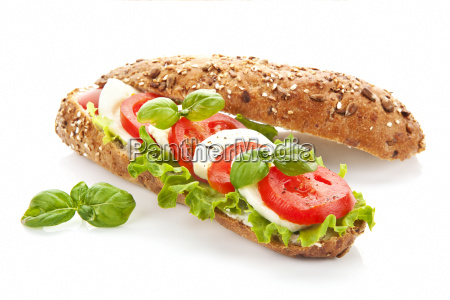 baguette caprese isolated