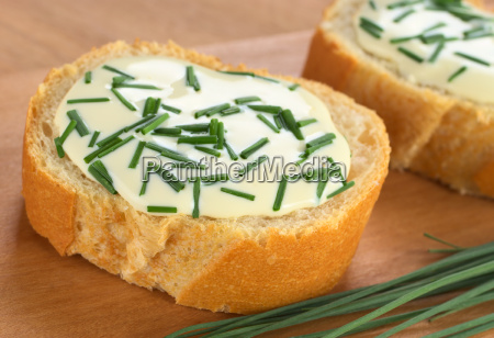 baguette with soft cheese and chives