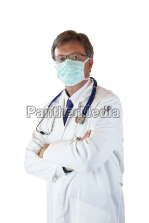 elderly doctor with mouth guard to
