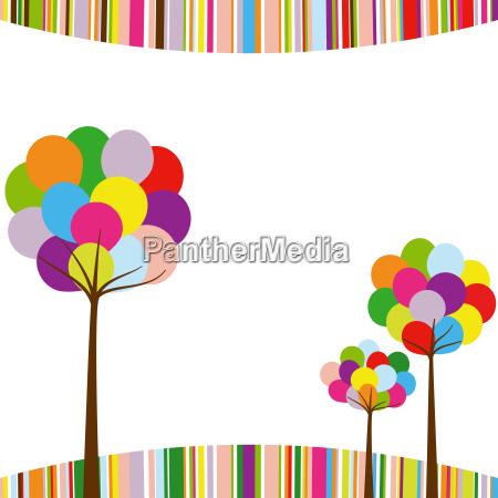 abstract springtime rainbow color tree