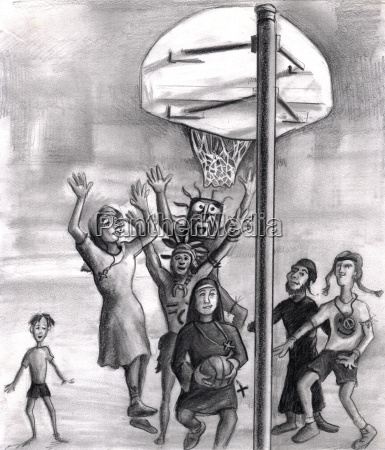 oh holy one religious playing basketball