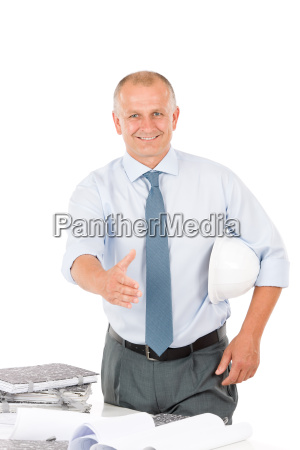 senior architect male handshake hold helmet