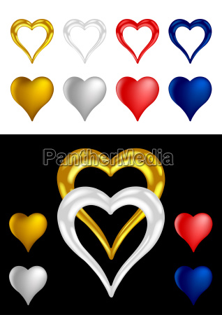 different colored metallic heart shapes