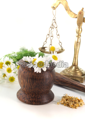 chamomile flowers with mortar and scales
