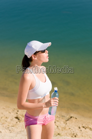 summer sport fit woman relax after