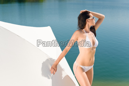 summer beautiful woman in white bikini
