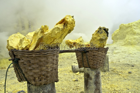 basket full of sulfur nuggets