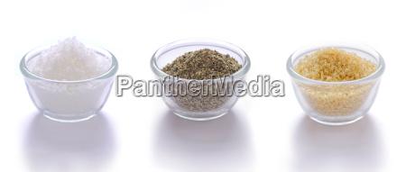 salt pepper and brown sugar