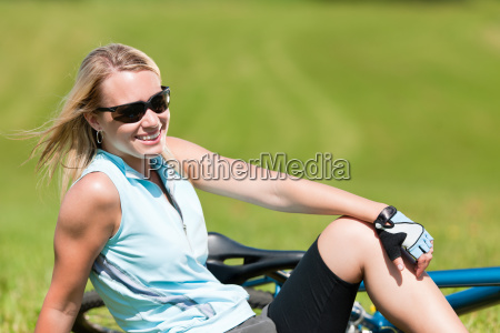 sport mountain biking girl relax in