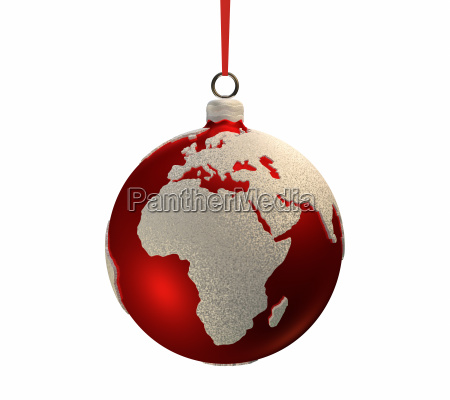 christmas bulb with continents europe
