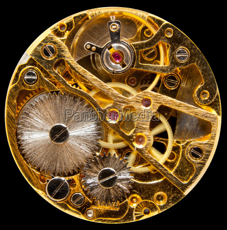 interior of antique hand wound watch