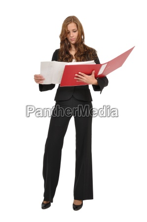 woman in suit considered architectural drawing