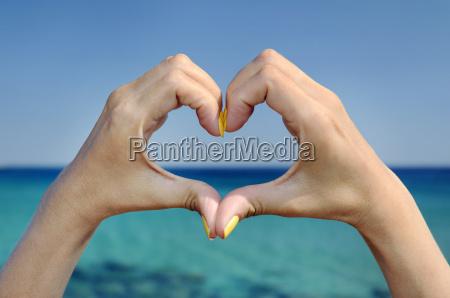 love sea hand heart gesture