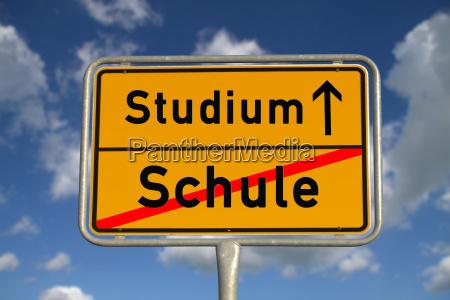 german town sign school study