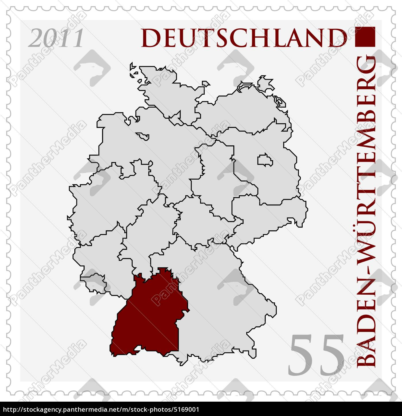 Highlighted Germany Map Baden Wurttemberg Stock Photo 5169001