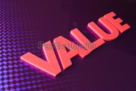 value word on blue neon background