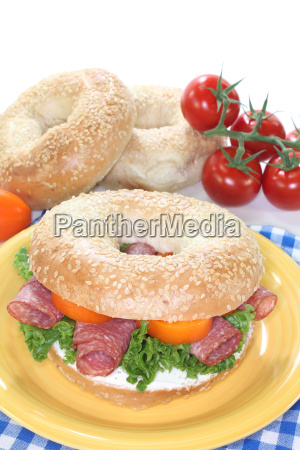 bagel with salami