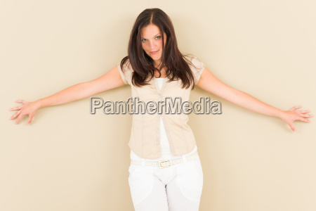 casual business woman attractive provocative pose