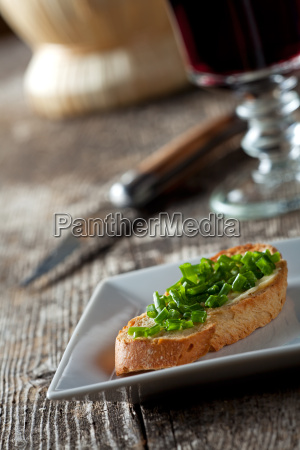 baguette with butter and chibs on
