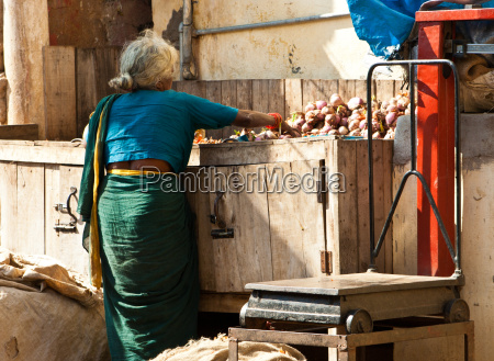 indian woman on a market