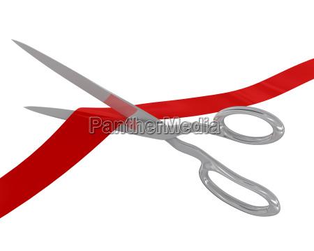 scissors cut the ribbon