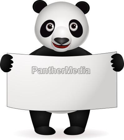 panda cartoon and blank sign
