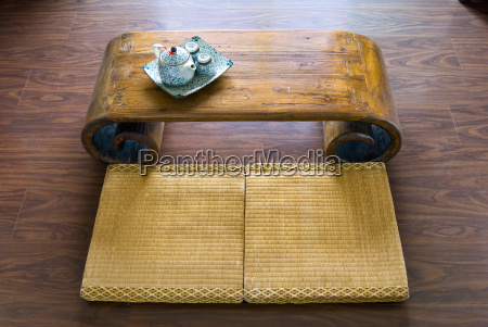traditional japanese straw mattress table and