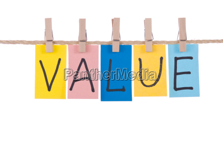 value colorful words hang on rope