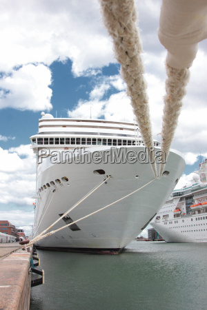 front of a cruise ship docked