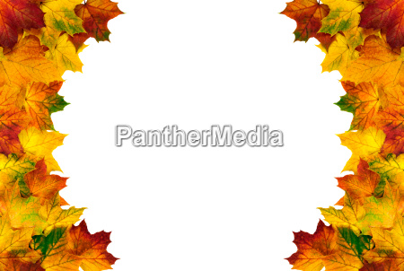 round frame made of colorful autumn