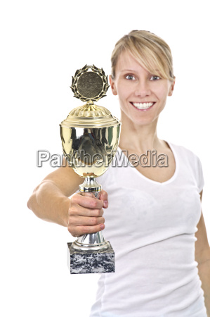 sportswoman with cup
