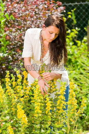 beautiful woman sunny garden care yellow
