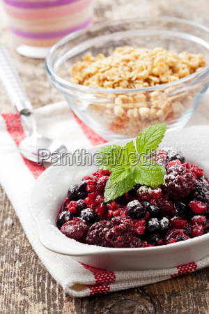 closeup of breakfast cereals with fruit
