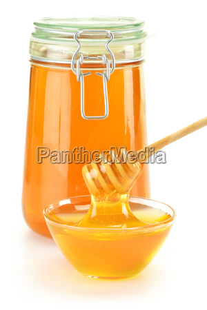 composition with dish of honey and