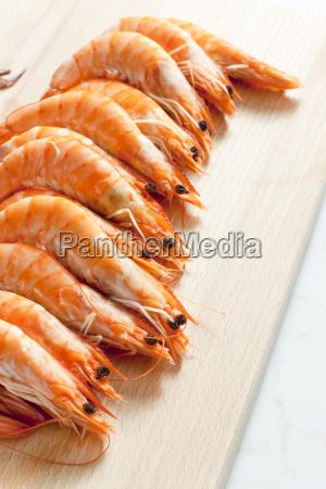 still life of raw prawns