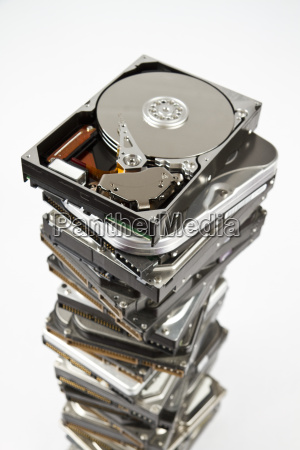 stack of hard drive with opened