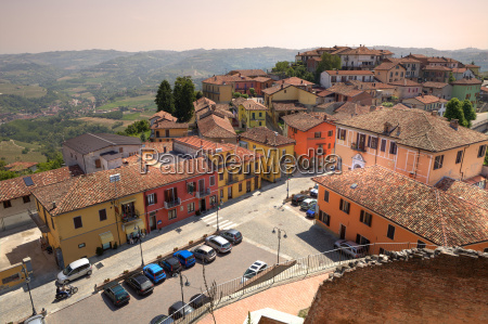 aerial view on roofs and street
