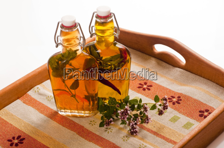bottles with vinegar and oil on