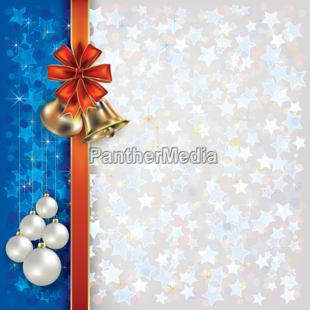 christmas greeting with bells and gift